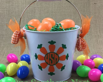 Small, Medium, or Large personalized Easter basket, Easter bucket, Easter pail with circle monogram for a girl or boy.