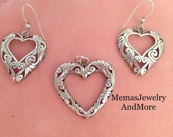 Sterling Pendant, Open Heart Pendant & Earrings, Sterling Heart Pendant, Sterling Heart Earrings