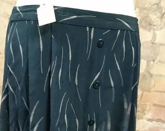Vintage dark navy skirt, calf length skirt, print skirt