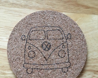 Campervan pyrography cork coasters, set of 4