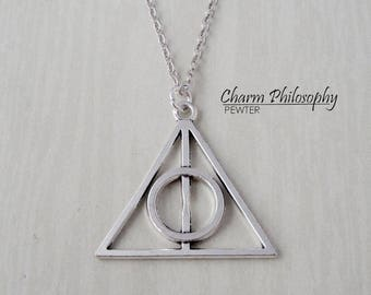 Deathly Hallows Symbol Necklace - Harry Potter Inspired Jewelry - Antique Silver Jewelry