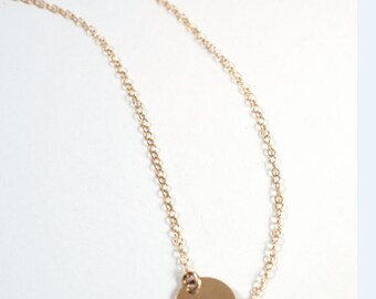 "Gold Engraved ""G"" Necklace - 6 1/2"" Gold Chain"