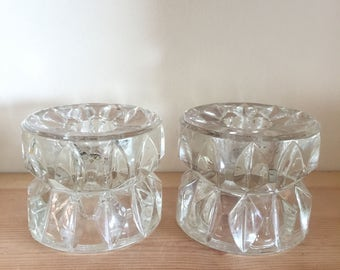 Vintage Chunky Heavy Cut Glass Candlestick Holders