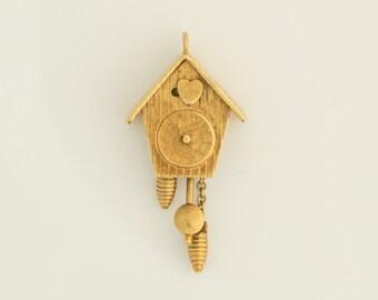 Vintage Cuckoo Clock Dangle 18k Gold Charm, VJ #669