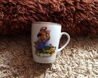 Vintage Novelty Cartoon Dog and Bird Mug, Made in Romania!