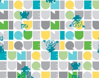 Minions Fabric- Le Buddies Fabric Turquoise From Quilting Treasures