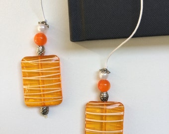 String Beaded Bookmarker Orange