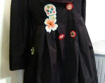 SUMMER SALE! Unique Sugar Skull appliqued black lightweight coat Medium