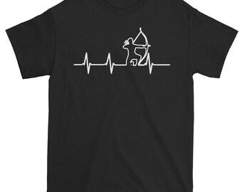 Archery T-Shirt Birthday Gifts Shirt Archery Shirt Archery T-Shirt Hunting Shirt Unique Archery Print Heartbeat Print Unique Heartbeat