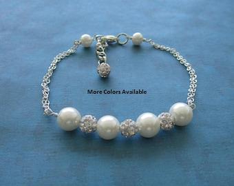Custom Pearl Bracelet-Crystal Rhinestone Bracelet-Bride jewelry-Bridesmaid jewelry-Maid of Honor jewelry-Wedding Party gifts-Weddings, S1050
