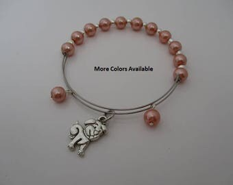 Dog Puppy Pearl Expandable Charm Bracelet-Girl's jewelry-Daughter bracelet-Daughter gift-Daughter jewelry-Girl's bracelet-Dog-Puppy, B898