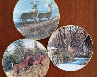 Deer Collector Plates Danbury Mint, Friends of the Forest Set of 3 - Signed G3151 Series