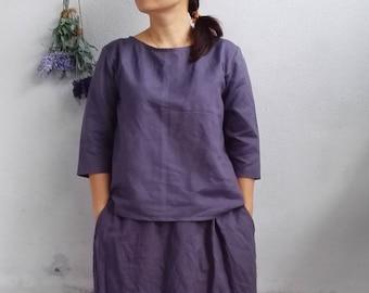 Linen Top / Basic Linen Blouse, Half Sleeves Linen Top