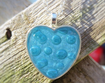 Blue heart resin pendant, Valentine's Day gift, heart necklace, unique necklace, ooak, pebeo and resin pendant