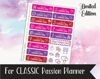 Valentine's Day Countdown Sticker Set for Passion Planner Classic **50% OFF**