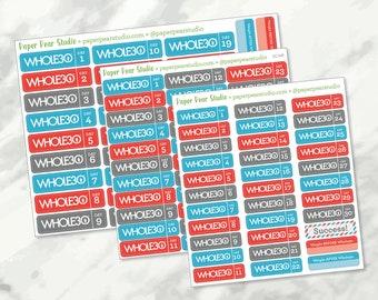 Whole30 Challenge Sticker Set for Passion Planner | Erin Condren Life Planner | Happy Planner | The Just Five Plan Agenda