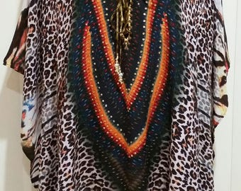 "Amazing silk 30"" kaftan top. Now reduced."