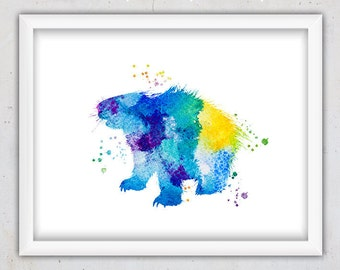 Watercolor Decor, Watercolor Porcupine Nursery Print, Kids Wall Art, Boy Poster, Instant Print, Digital Print Nursery, Printable Animal Blue