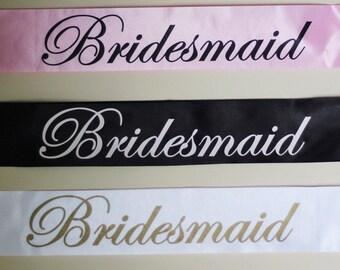 Bridesmaid Sash, bachelorette party sash, bridal party sash, hen party sashes, wedding party