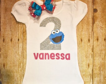 Cookie Monster birthday shirt and BOW