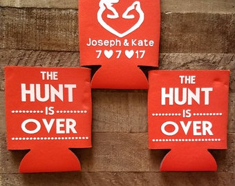 The Hunt is Over beverage can cooler, the hunt is over wedding favors, bridal party gifts, personalized can coolers, wedding gifts, custom