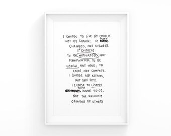 I choose to live by… A3 Poster PDF