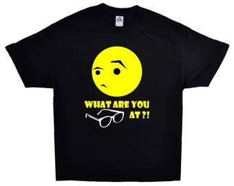 What Are You Looking At Funny Joking In Yellow On A Black T-shirt Stop Staring 100% Cotton Tee