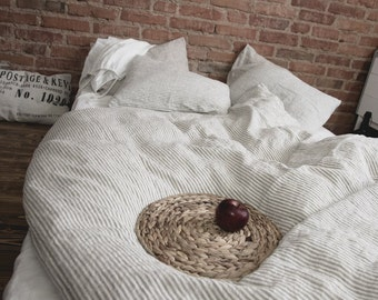 Natural Linen Striped Duvet Cover Stonewashed Linen Shabby Chic Duvet Cover Linen Bedding Romantic Duvet Cover Stonewashed Duvet Cover