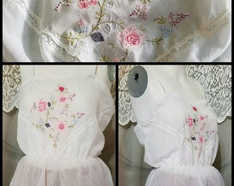 Vintage 70s Bert Yelin Camisole Lace Embroidered Sheer White Cami, Crop Top Tank Top Sleeveless Top Hippie Size Petite XS Small