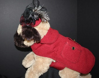 Red Dog Coat with Matching Fascinator, Cat Coat with Hat, Red Small Pet Coat and Hat, Size Extra Small Dog or Cat Coat with Matching Hat