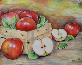 "Apples painntings, Apples, hand painted artwork, acrylic on watercolor paper 11""x14"", dining room decor, kitchen wall art."