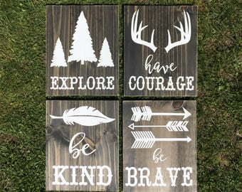 Woodland Nursery Sign - Rustic Nursery - Woodland Animals - Boy Nursery Decor - Baby Shower Gift - Be Kind, Be Brave, Have Courage, Explore