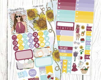 Market Street | Summer, Farmers Market, Fruit, Girly, Fashion, Planner Stickers, PERSONAL SIZED KIT