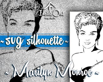 Marilyn Monroe Silhouette SVG AI PNG Wall decal dxf Vector Graphics Digital Printable Hollywood Diva Woman Actress Cut File Stickers Clipart