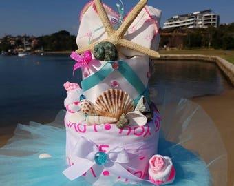 Bonds Mermaid nappy cake baby shower gift