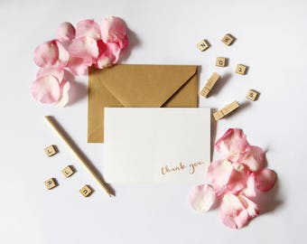 Set of 12 Thank You Notecards // Foil // Notecard // Gold // Real // Handmade // Note // Card