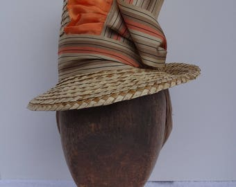 1880's Reproduction Straw Flowerpot Hat with Grosgrain and Taffeta Ribbon trim in Natural, Tan, Peach