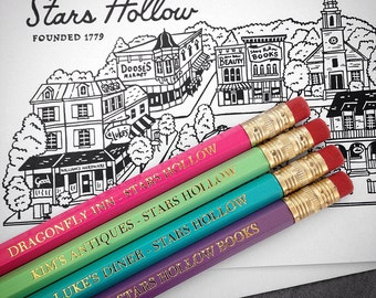 Gilmore Girls pencils and Stars Hollow greeting cards - Gilmore Girls Art - Correspondence Card Stationery
