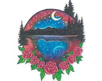 "Rose Moon Poster Print - Grateful Dead Inspired 8.5 x 11"""