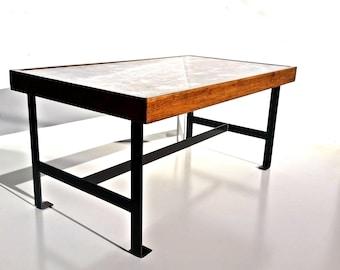 Rustic Industrial Coffee Table/Vintage Steel Coffee Table/Handmade Collage  Style Table Top/ Part 54