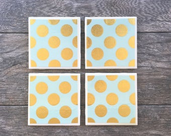 Mint Green and Gold Polka Dot Ceramic Coasters