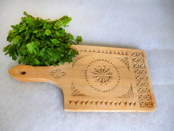 Wood Cutting Board Hand Carved Chopping Bread Cheese Serving