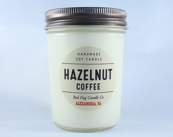 Hazelnut Coffee Soy Candle | Handmade Soy Candle | Candle Gift | Coffee Candle | Soy Candle Mason Jars | 8 oz | Soy Candles Hanmade