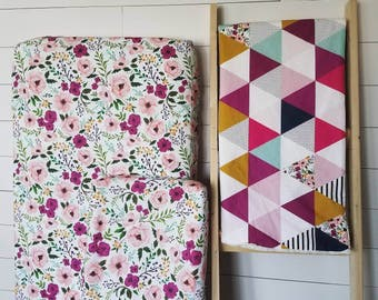Nursery bedding set.Crib sheet. Changing pad cover. Floral Nursery. Triangle quilt. Stripes Nursery. Floral Nursery.Minky Crib Sheet.Minky