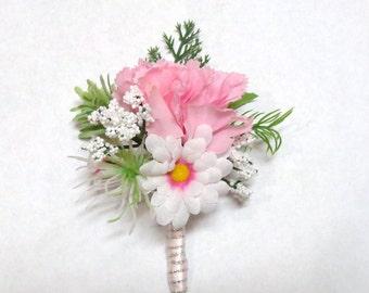 Pink Carnation Boutonniere-Pink Carnation and White/Pink Daisy Boutonniere-Wedding-Prom-Special Event-Pink Silk Carnation Boutonniere
