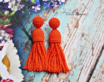 Orange color/beaded tassel/ oscar de la renta/Short-tassel handmade clip on earrings handmade beading dangle earrings/ sterling SILVER