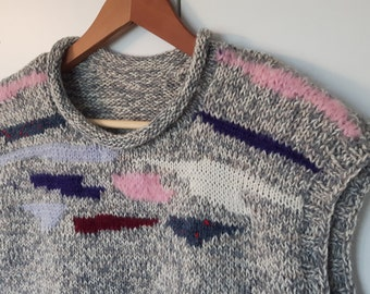 Knitted Gray Sweater vests. Handmade
