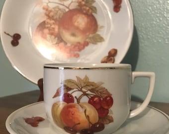 SALE!!! Sehman Weiden Fruit China Teacup Saucer & Dessert Plate Set - Apples