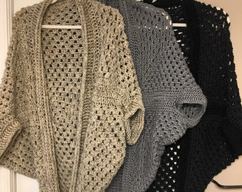 Handmade crocheted cocoon cardigans in different colors!
