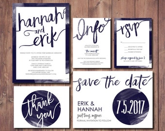 Navy Wedding Invitation Suite, Modern Wedding Invitation Kit, Printable  Wedding Invite Suite, Navy